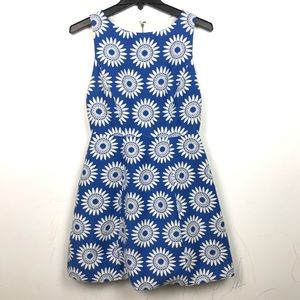 Alice + Olivia | Embroidered Mini Dress Blue Boho